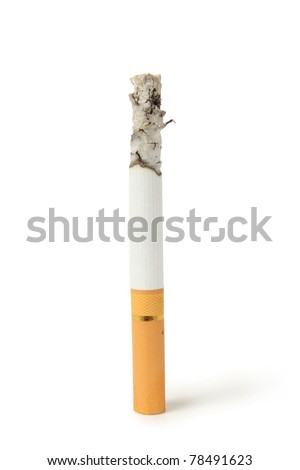 cigarette with ashes isolated on a white background - stock photo