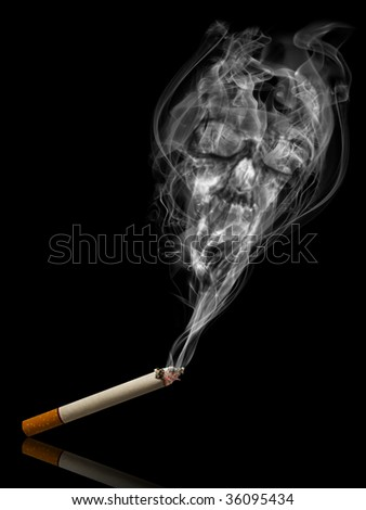 Cigarette with deadly smoke - Tabac kills life concept - stock photo