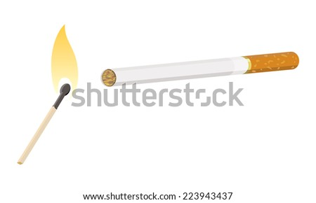 cigarette with lit match - stock photo