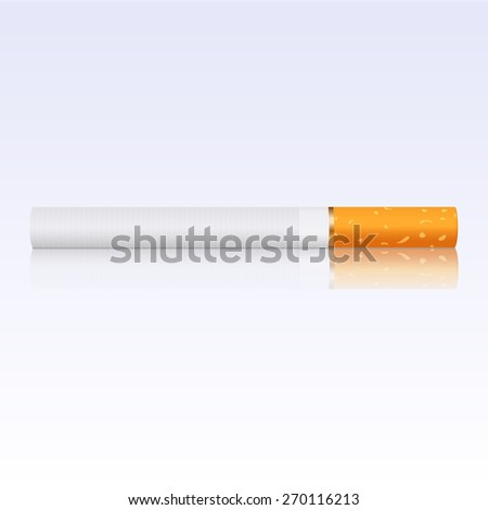 Cigarette with reflection. Raster version - stock photo