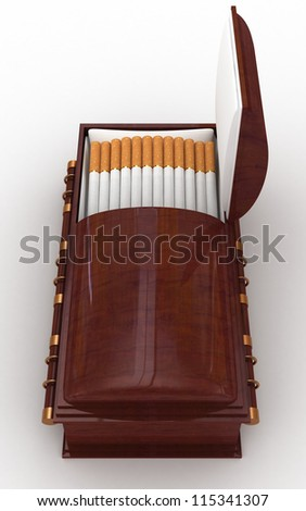 Cigarettes in a coffin cigarette-case isolated on white - stock photo