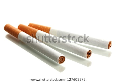 Cigarettes, isolated on a white - stock photo