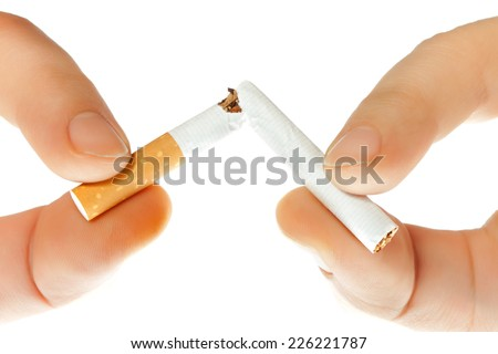 Cigarettes, smoke in various shades - stock photo