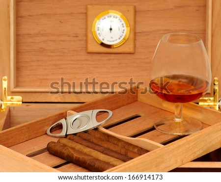 Cigars in open humidor. Cigar cutter. Glass of cognac - stock photo