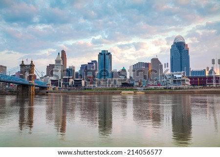 Cincinnati downtown panoramic overview at the sunset - stock photo