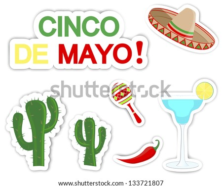Cinco De Mayo. Set of stickers with symbols of the holiday. Raster version. - stock photo