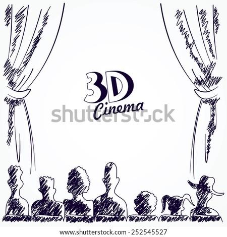 Cinema audience back view - stock photo