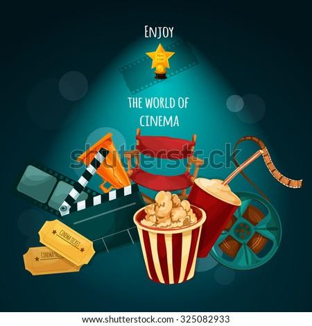 Cinema background with film director chair actor award movie tickets cartoon  illustration - stock photo