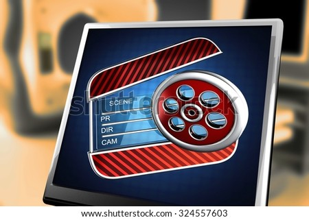 cinema clap on blue background at monitor - stock photo