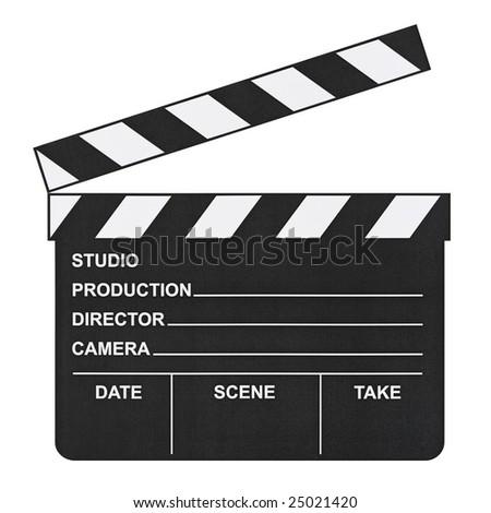 Cinema clapboard isolated on white background - stock photo