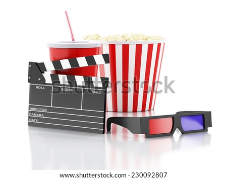 cinema clapper, popcorn, drink and 3d glasses. 3d illustration - stock photo