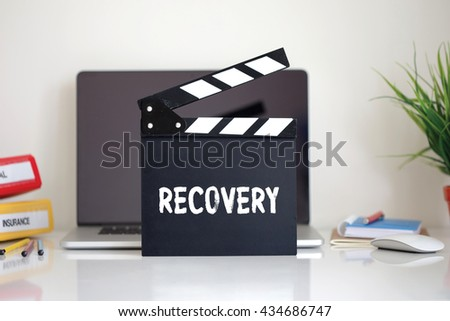 Cinema Clapper with Recovery word - stock photo