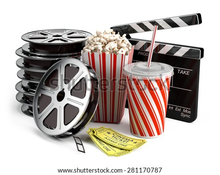 Cinema concept: Clapper board, film reels, popcorn, cola, cinema tickets - stock photo