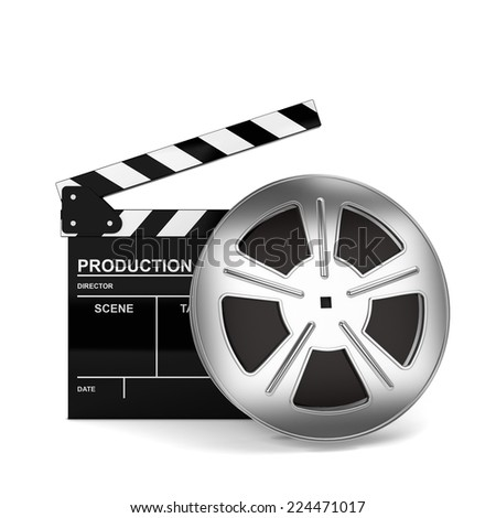 Cinema film and clap board. 3d illustration isolated on white background  - stock photo