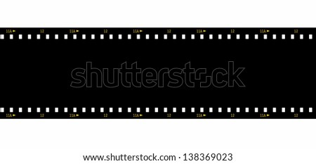 Cinema film strip black blank isolated on white background - stock photo