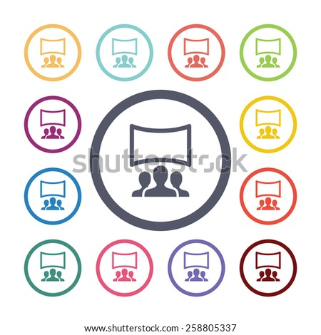 cinema hall flat icons set. Open colorful buttons  - stock photo