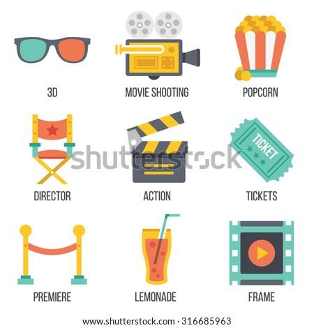 Cinema icons set. Flat design. Isolated on white background. Set 12 - stock photo