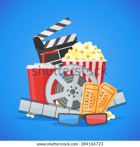 Cinema movie poster design template. Movie film reel and strip, ticket, popcorn, clapper board, soda takeaway, 3d glasses on blue background. - stock photo