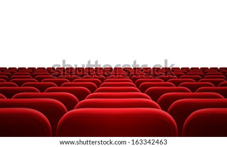 cinema or audience red seats isolated - stock photo