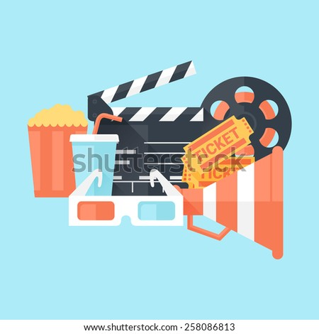 Cinema Poster with Glasses, Megaphone, Tickets, Bobbin, Clapper Board, Popcorn and Drink. Flat Style with Long Shadows. Clean Design. Raster Copy. - stock photo