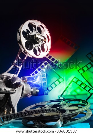 Cinema projector with a color film - stock photo