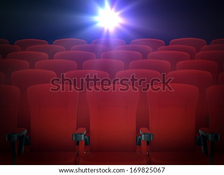 Cinema Red Seats with Projector Lights - stock photo