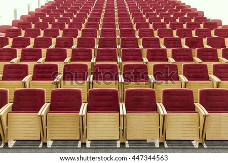 cinema room with red chairs - stock photo