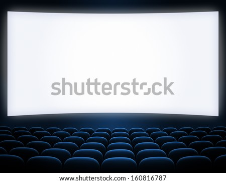 cinema screen blue seats - stock photo
