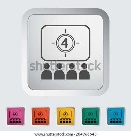 Cinema. Single flat icon on the button.  - stock photo