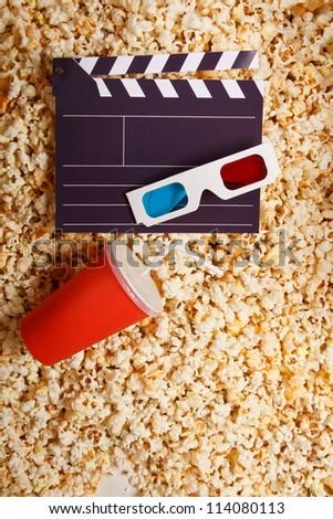 cinema slate on popcorn - stock photo