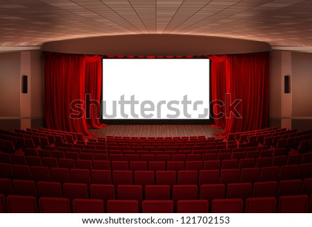 Cinema  stage with red curtains - stock photo
