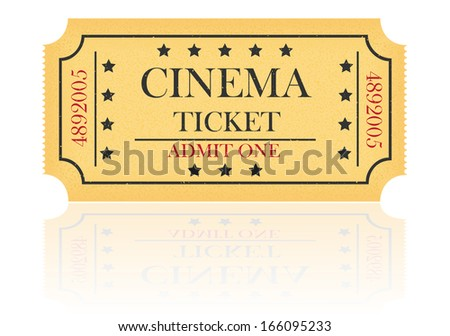 cinema ticket illustration isolated on white background - stock photo