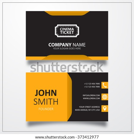 Cinema ticket sign icon. Business card template. - stock photo