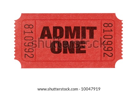 Cinema ticket : single red admit one movie ticket isolated on white background.  - stock photo