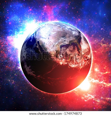 Cinematic Earth and Sun - Elements of this image furnished by NASA  - stock photo