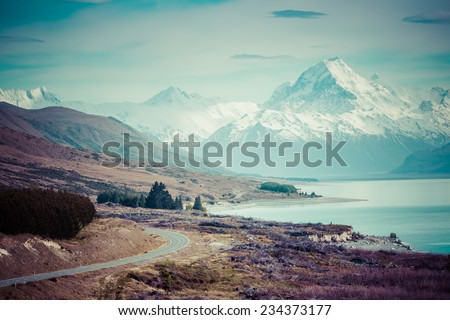 Cinematic Road to Mount Cook , New Zealand.  - stock photo