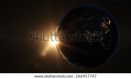 Cinematic View of Asia from Space (Map of this image furnished by NASA) - stock photo