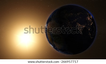 Cinematic View of the Middle East from Space (Map of this image furnished by NASA) - stock photo