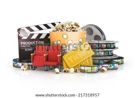 cinematograph in cinema films and popcorn - stock photo