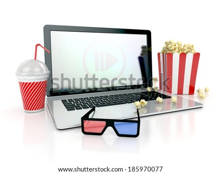 cinematography concept. watching movies on laptop with 3d glasses and snacks. 3d render isolated on white background - stock photo