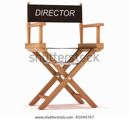 Cinematography: directors chair over white background - stock photo