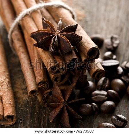 Cinnamon and coffee beans - stock photo