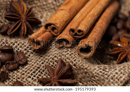 Cinnamon, aniseed and coffee beans on the burlap, Close-up. - stock photo