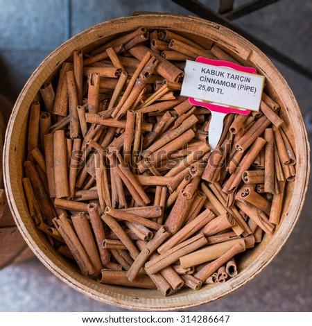 Cinnamon at market in Istanbul, Turkey - stock photo