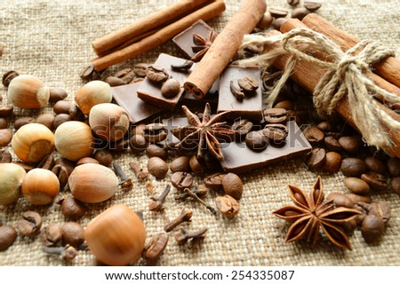 cinnamon, chocolate, coffee, cloves, hazelnuts walnuts on sacking background - stock photo