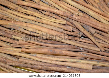 Cinnamon (cinnamon) stick brown aromatic flavor that dessert such as cakes, cookies, coffee, soup and all the food. - stock photo