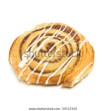 Cinnamon Danish Pastry swirl isolated against white background - stock photo
