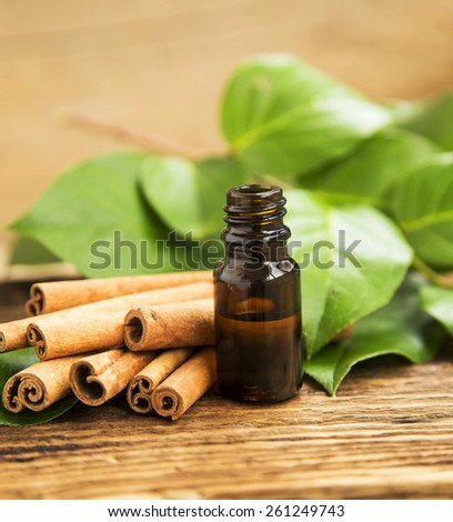 Cinnamon Essence, Cinnamon Essential Oil Bottle, Alternative Medicine, Aromatherapy Oil - stock photo