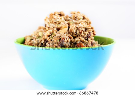 cinnamon raisin granola in a bowl - stock photo