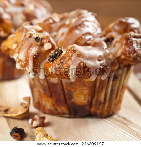 Cinnamon Raisin Muffins - Cobblestone. Selective focus. Shallow DOF. - stock photo